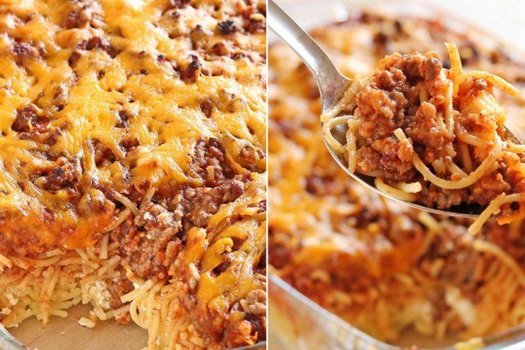Zapékané špagety s mletým hovězím, krémovým sýrem a čedarem